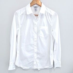 H&M white long sleeve button down shirt